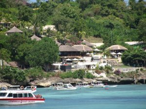 Coconuts Beach Resort, as seen from across the bay